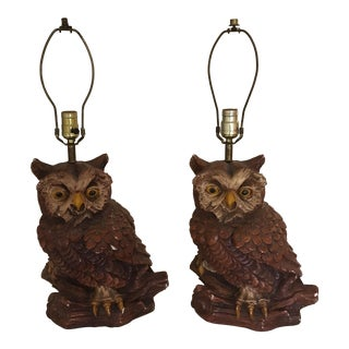 Vintage 1979 Owl Lamp - a Pair For Sale