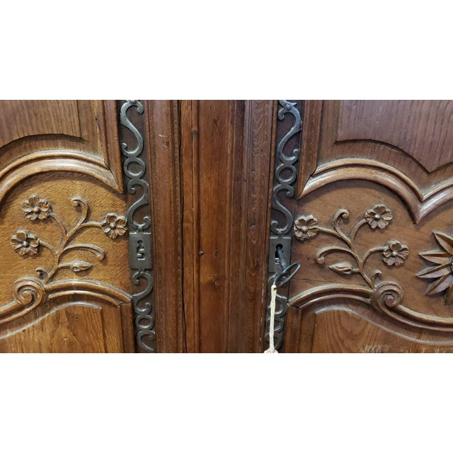 18th Century Antique 18th Century French Normandy Country Double Door Wedding Armoire Cabinet C1790 For Sale - Image 5 of 13