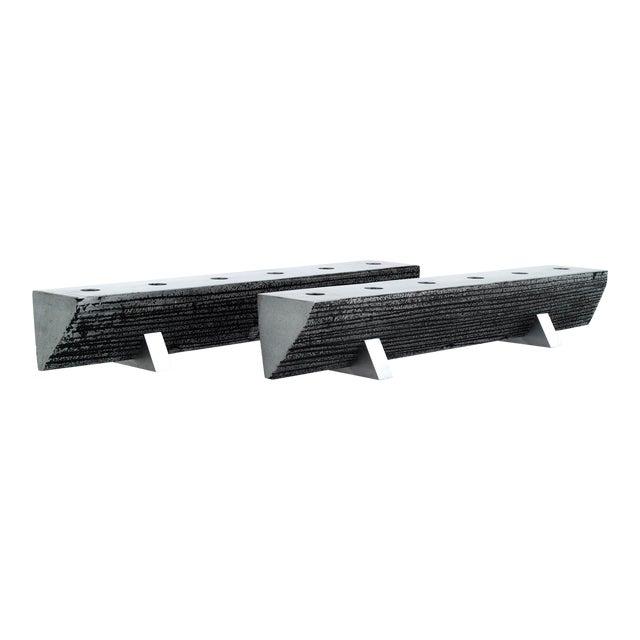 Solid Aluminum Brutalist Candelabras For Sale