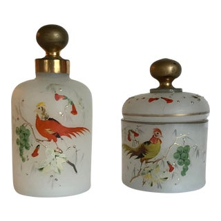 Set of Vintage French Opaline Hand Painted Glass Perfume & Powder Bottles For Sale