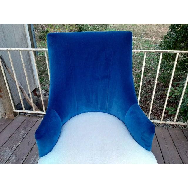 """Metal Caracole """"You'Re Invited"""" Blue and White Upholstered Side Chair For Sale - Image 7 of 13"""