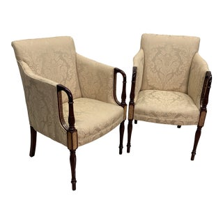 Southwood Sheraton Style Inlaid Mahogany Club Chairs For Sale
