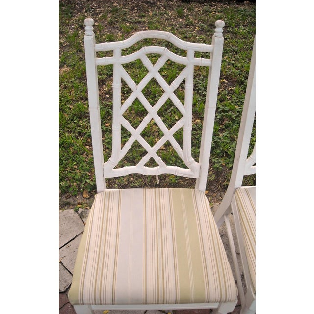 Vintage Faux Bamboo Dining Chairs - Set of 4 - Image 6 of 9