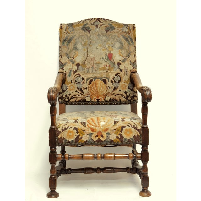 French Louis XIII Style Walnut Armchair - Image 2 of 3