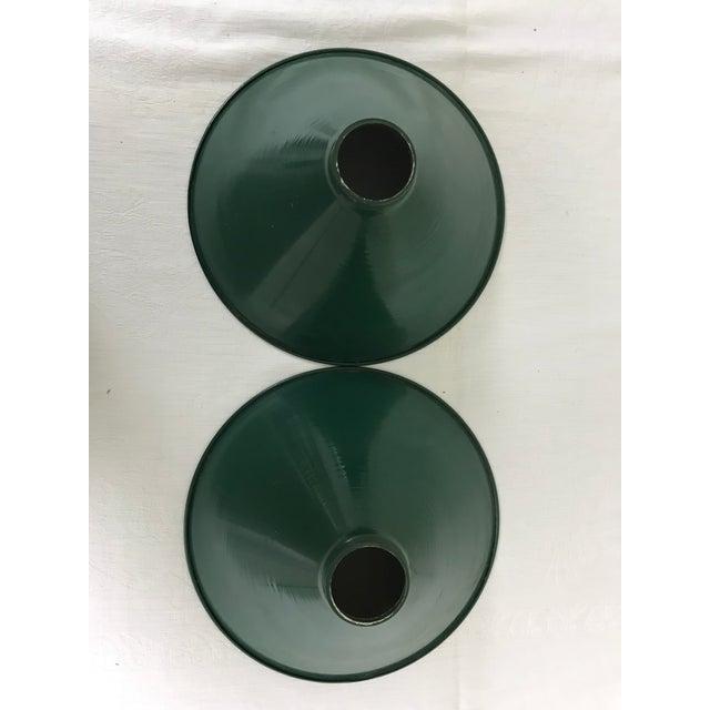 Industrial Mid-Century Industrial Dark Green Enamel Pendant Shades - Set of 2 For Sale - Image 3 of 9