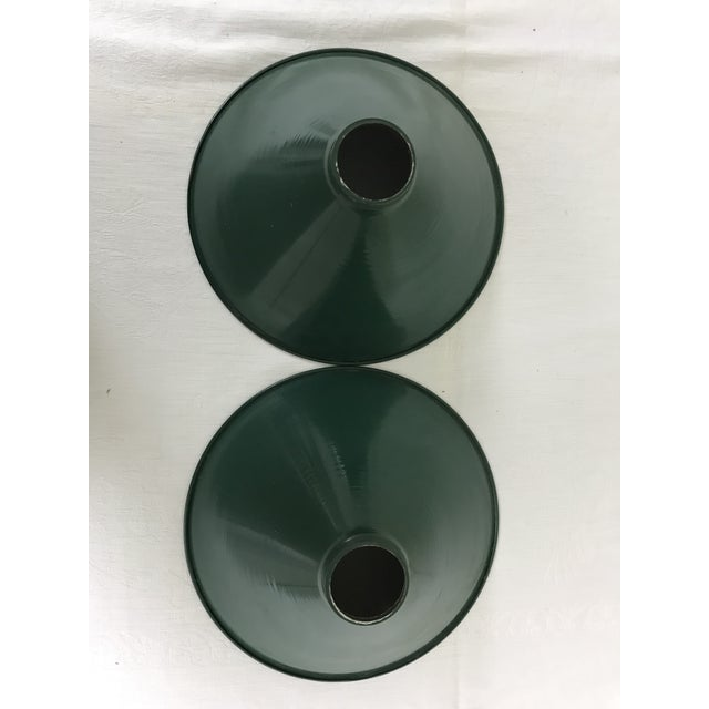 Industrial Mid-Century Industrial Dark Green Enamel Pendant Shades - Set of 2 - a Pair For Sale - Image 3 of 9