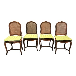 Vintage French Wood and Cane Chairs by Cassard Romano Furniture - Set of 4 For Sale