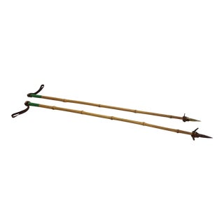 Vintage Rustic Bamboo Ski Poles - A Pair