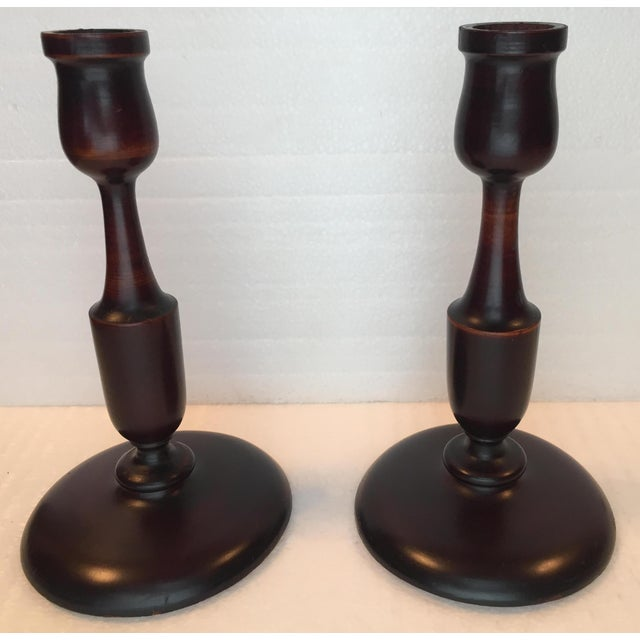Mahogany Early 20th Cent. Victorian Turned Mahogany Candlesticks - a Pair For Sale - Image 7 of 7