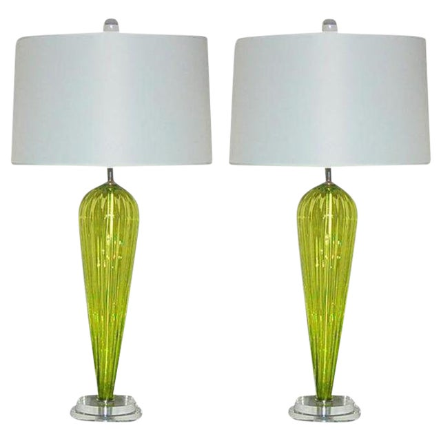 Joe Cariati Glass Table Lamps Green For Sale
