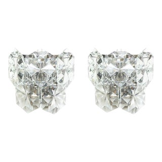 Pair of Glamorous 1970s Kinkeldey Oversized Crystal Sconces For Sale