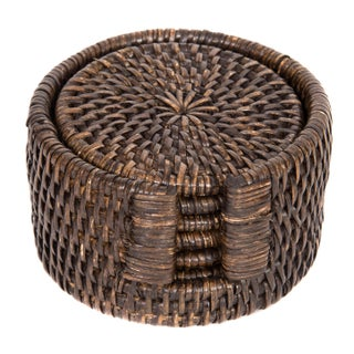 Artifacts Rattan 6-Piece Round Coaster Set For Sale