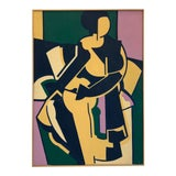 Image of Color Blocked Vintage Figurative Painting For Sale