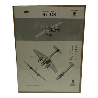 """Vintage WWII Aircraft """"Hensche HS-129"""" Recognition Poster"""