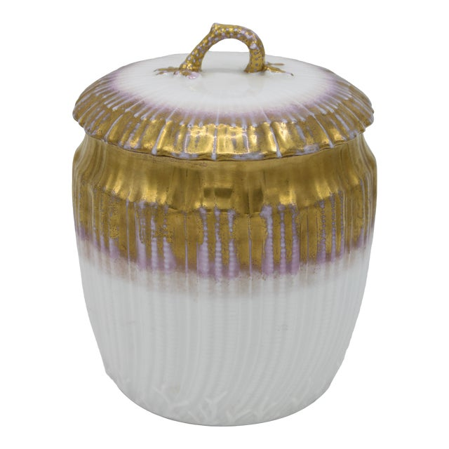 Antiques French Limoges Lavender Gold and White Biscuit Jar For Sale