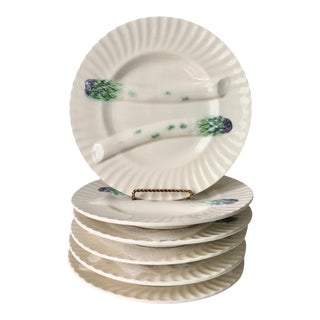 Creil Et Montereau French Majolica Asparagus Plates-Set 6 For Sale