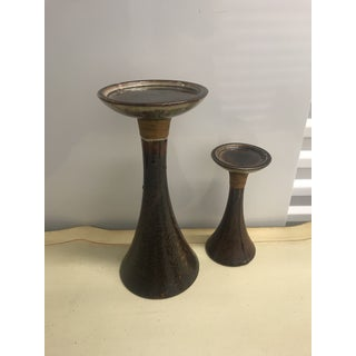 1960s Mid-Century Modern Ceramic Chestnut Brown Candle Holders - a Pair Preview
