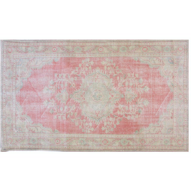 """Vintage Turkish Oushak Hand Knotted Organic Wool Fine Weave Rug,5'5""""x9'3"""" For Sale In New York - Image 6 of 6"""