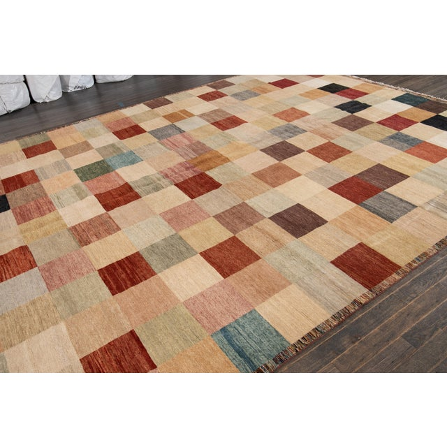 Apadana - Modern Oversize Multicolored Geometric Indian Gabbeh Rug, 10.06x15.06 For Sale - Image 10 of 11