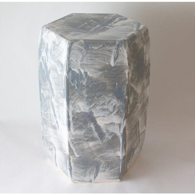 Contemporary Paul Schneider Ceramic Hexagonal Stool in Drip Brushed Grey Glaze For Sale - Image 3 of 3