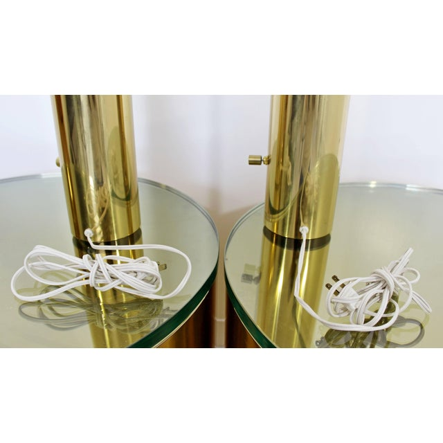 George Kovacs 1970s Mid-Century Modern Cylindrical Brass Table Lamps - a Pair For Sale - Image 4 of 5