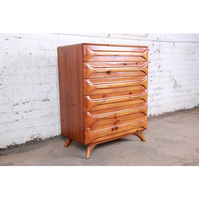 Cabin Franklin Shockey Rustic Modern Sculptured Pine Highboy Dresser C. 1950s For Sale - Image 3 of 10