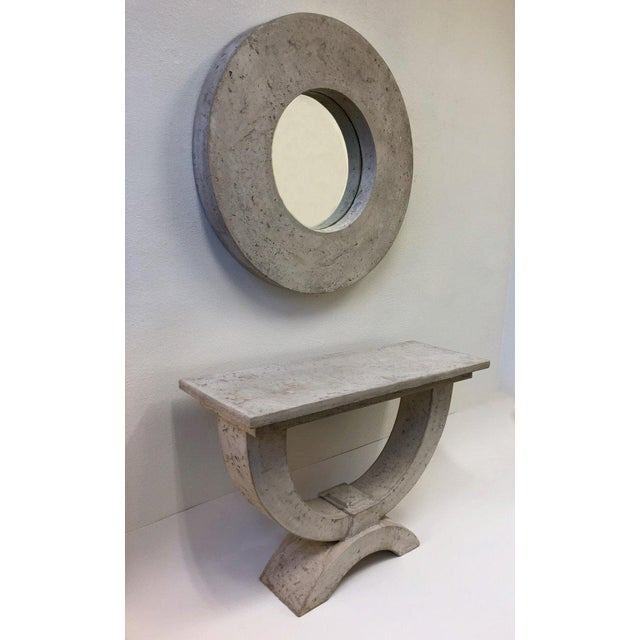 Boho Chic Faux Stone Console Table and Mirror by Michael Taylor For Sale - Image 3 of 8