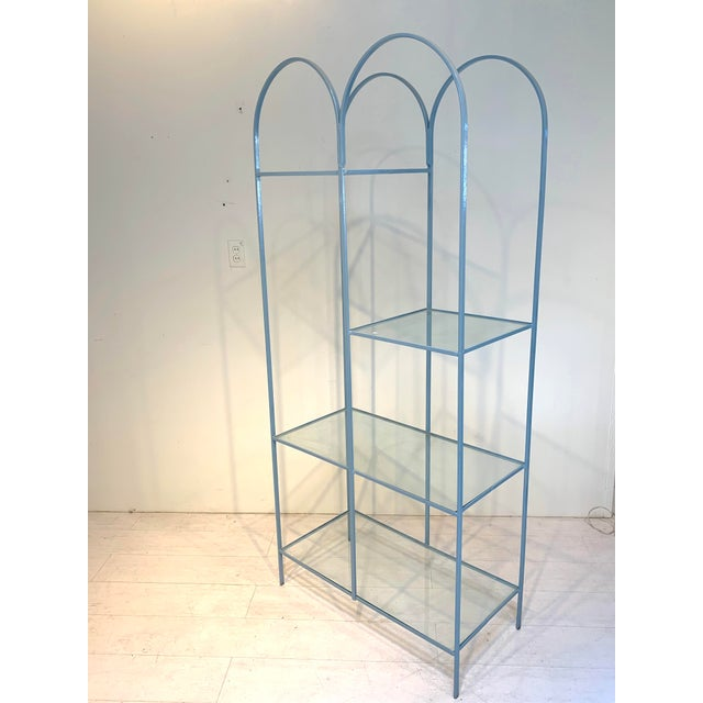 1960s Mid Century Modern Arched Powder Blue Metal and Glass Display Shelf Unit For Sale - Image 5 of 7