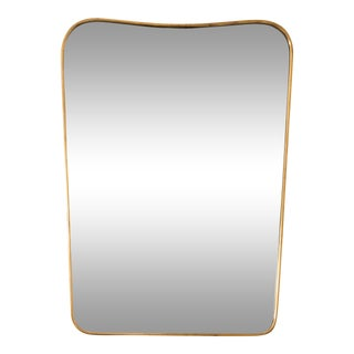 Italian Brass Mirror in the Manner of Gio Ponti For Sale