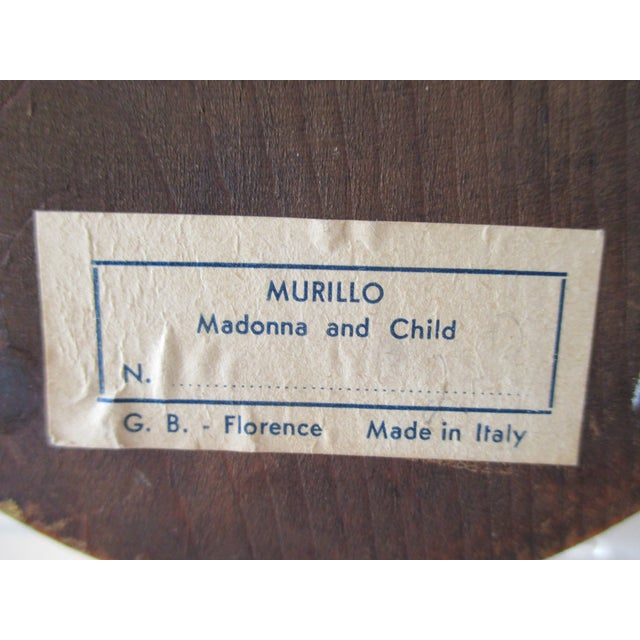 1980s Petite Vintage Florentine Oval Print of Murillo: Madona and Child For Sale - Image 5 of 6