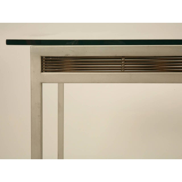 1980s Stainless Steel and Glass Indoor or Outdoor Dining Table For Sale - Image 5 of 11
