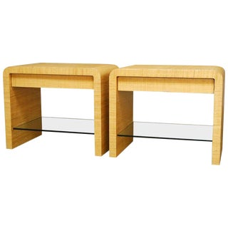 Harrison-Van Horn Style Raffia Waterfall Nightstands - a Pair