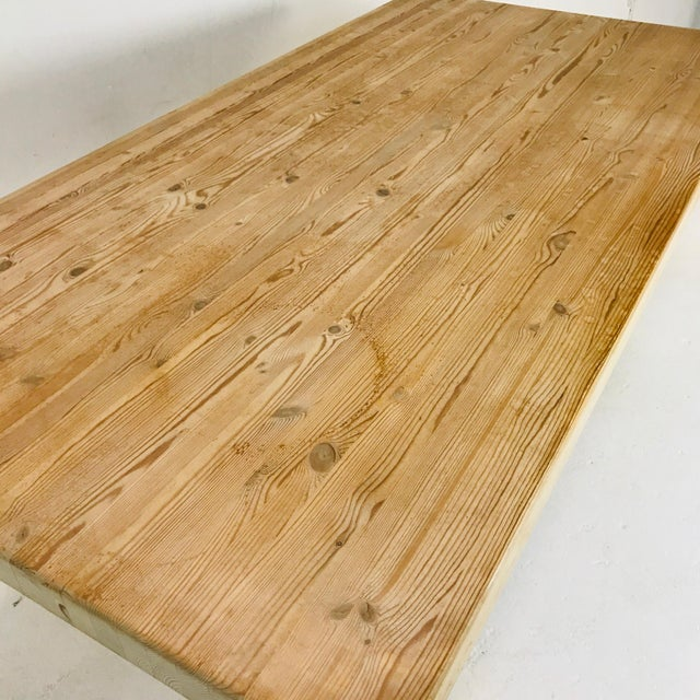 Substantial Solid Scandinavian Pine Butcher Block Dining Table For Sale - Image 10 of 13