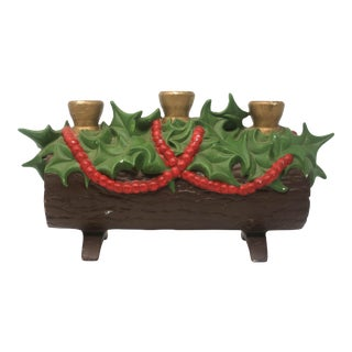 Vintage Yule Log Triple Candle Holder For Sale