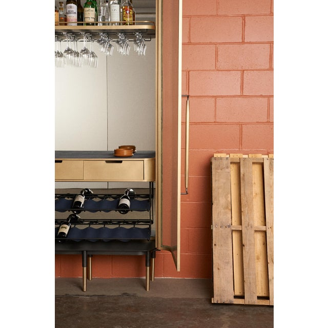 Plano Bar Cabinet in Bronze, Curved Glass Doors, Waxed Leather Bottle Slings For Sale - Image 11 of 12