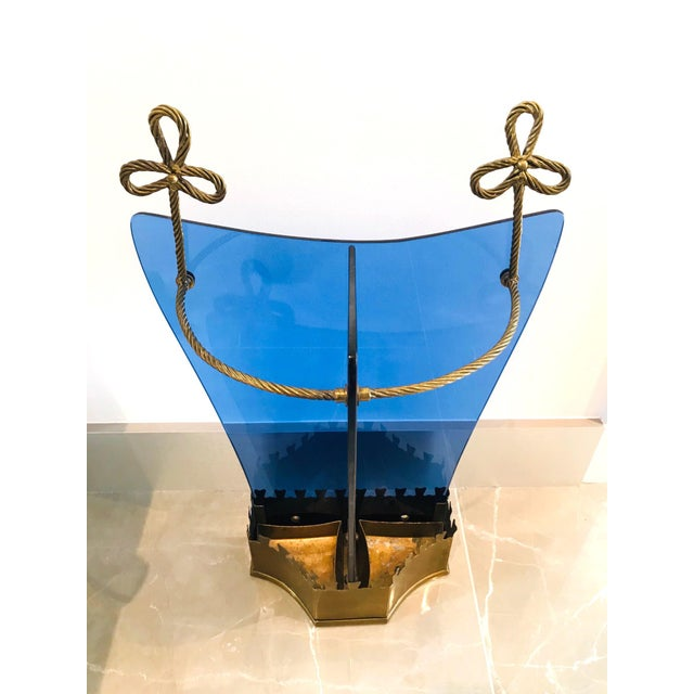 Italian Glass and Gilt Iron Umbrella Stand by Fontana Arte, 1950s For Sale In Miami - Image 6 of 13