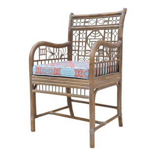 Chinoiserie Caned Bamboo Chair For Sale