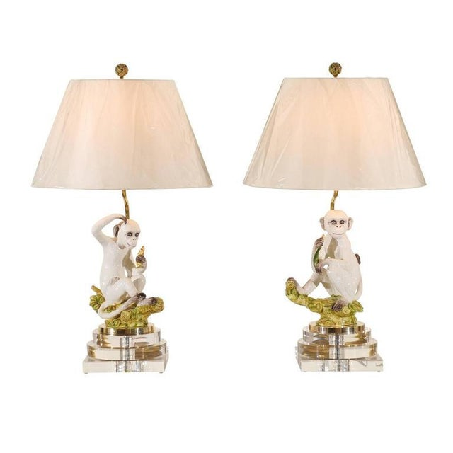 Marvelous Pair of Vintage Italian Monkey Sculptures as Custom Lamps For Sale - Image 11 of 11