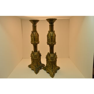 Gothic Revival Brass Candlesticks - a Pair Preview
