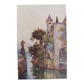 1905 Original Italian Print - Italian Travel Colour Plate - Villa Arconati, Lago DI Como For Sale