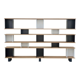 "Design Frères Oak Black and White ""Horizontal"" Shelving Unit For Sale"