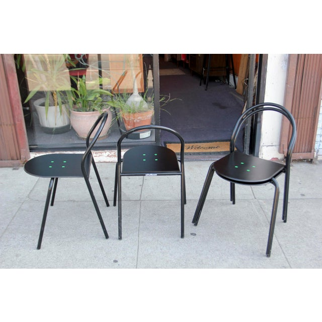 1980s Modern Black Metal Side Chairs - Set of 4 For Sale In Los Angeles - Image 6 of 12
