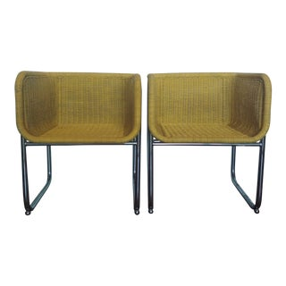 Vintage Modern Harvey Probber Style Wicker and Chrome Chairs - a Pair For Sale