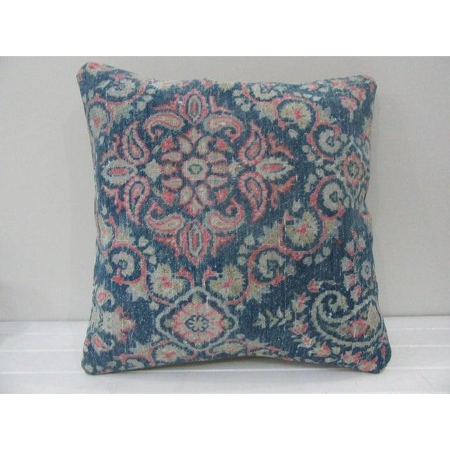 Vintage Blue Turkish Kilim Pillow Cover For Sale - Image 4 of 4
