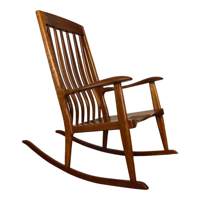 Studio Hand Made Cherry Rocking Chair by Ed Steckmest For Sale