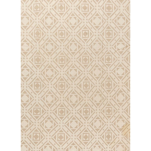 This vintage Turkish flat-weave Kilim was handwoven in the 1960's . Colors beige/cream