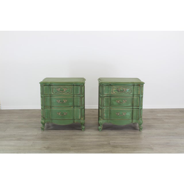 Metal Pair of French Provincial Nightstands, Mid Century Nightstands, Green Nightstand, Shabby Chic Nightstands For Sale - Image 7 of 11