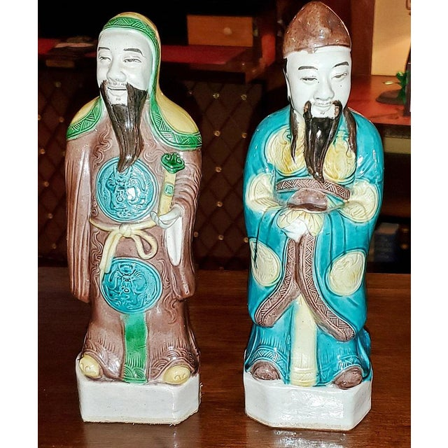 Vintage Chinese Ceramic Monks - a Pair For Sale - Image 4 of 12