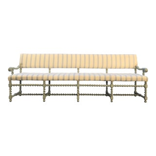 Barley Twist Painted Gustavian Bench For Sale