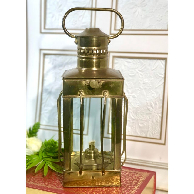 Vintage Nautical Marine Solid Brass Lantern Oil Lamp For Sale - Image 11 of 12